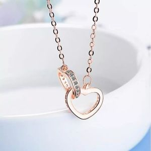 Double Heart Rose Gold Sterling Silver Necklace